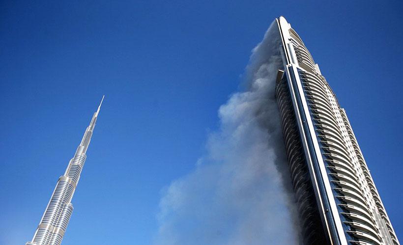 آتش سوزی مجدد در برج «آدرس» دبی