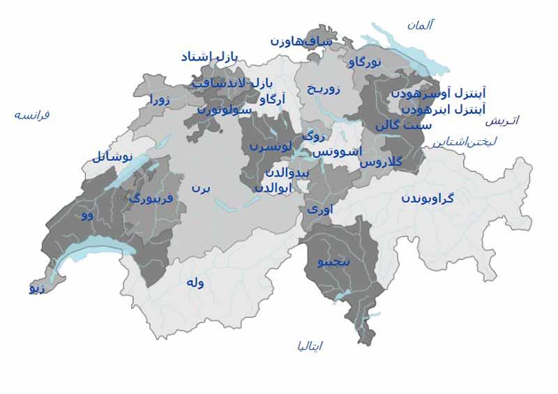 شهر های سوئیس روی نقشه